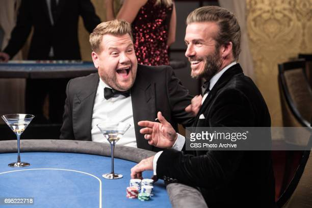 David Beckham with James Corden in London during The Late Late Show with James Corden airing Thursday July 8th 2017 from London On The CBS Television...