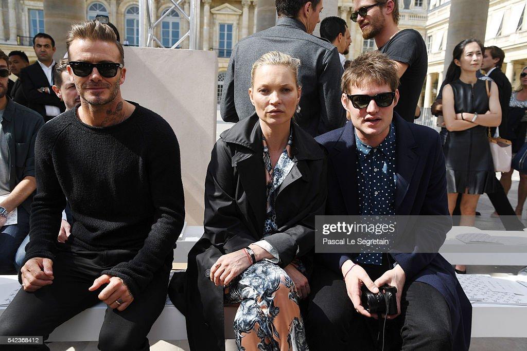 David Beckham,Kate Moss and Nikolai Von Bismarck attend the Louis Vuitton Menswear Spring/Summer 2017 show as part of Paris Fashion Week on June 23, 2016 in Paris, France.