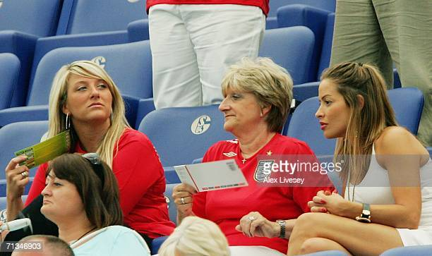 David Beckham's mother Sandra and sister Joanne and the girlfriend of Frank Lamparad Elen Rives wait for the action to start prior to the FIFA World...