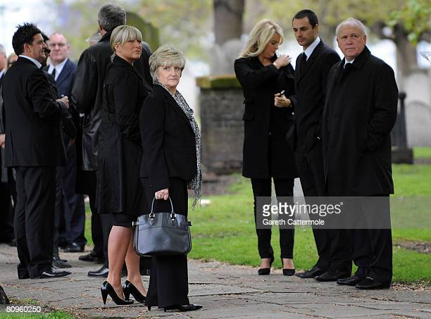 David Beckham's sister Joanna and mother Sandra attend the funeral of Pat Lampard at St Margaret's Church on May 2 2008 in Barking England