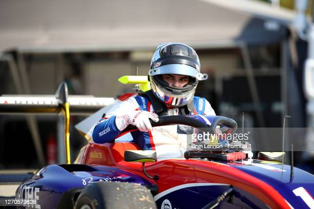 David Beckmann of Germany and Trident climbs from his car after practice for the Formula 3 Championship at Autodromo di Monza on September 04, 2020...