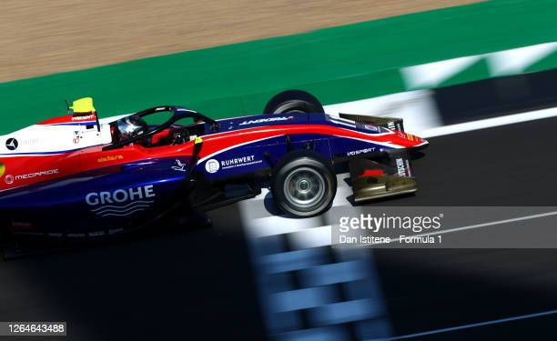 David Beckmann of Germany and Trident drives on track during race one of the Formula 3 Championship at Silverstone on August 08, 2020 in Northampton,...