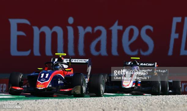 David Beckmann of Germany and Trident leads Aleksandr Smolyar of Russia and ART Grand Prix during the Formula 3 Championship First Race at Mugello...