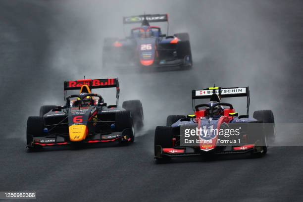 David Beckmann of Germany and Trident leads Dennis Hauger of Norway and Hitech Grand Prix during race two of the Formula 3 Championship at...