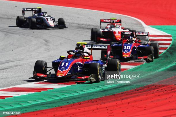 David Beckmann of Germany and Trident leads Lirim Zendeli of Germany and Trident , Frederik Vesti of Denmark and Prema Racing and Aleksandr Smolyar...