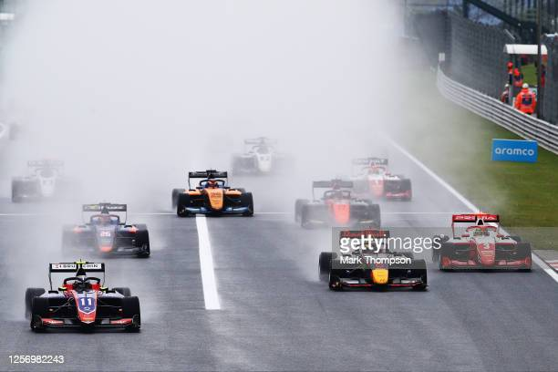 David Beckmann of Germany and Trident leads the field into turn one at the start during race two of the Formula 3 Championship at Hungaroring on July...
