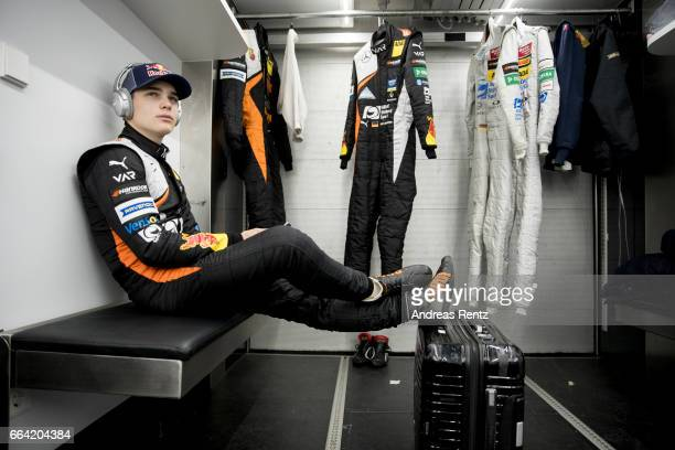 David Beckmann of Germany and Van Amersfoort Racing listens music in the team motorhome during the official testdays FIA F3 European Championship at...