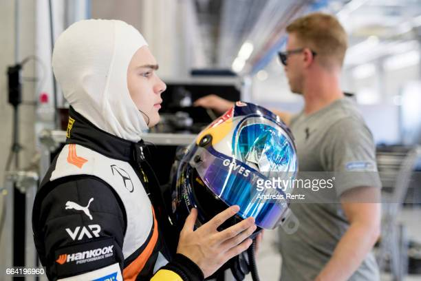 David Beckmann of Germany and Van Amersfoort Racing prepares in the garage during the official testdays FIA F3 European Championship at Red Bull Ring...