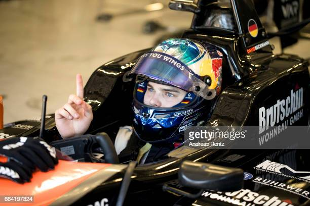 David Beckmann of Germany and Van Amersfoort Racing sits in his car in the garage during the official testdays FIA F3 European Championship at Red...