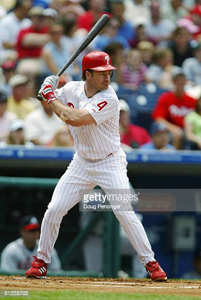 David Bell of the Philadelphia Phillies stands ready at bat during the game against the Atlanta Braves at the Citizens Bank Park on May 30 2004 in...