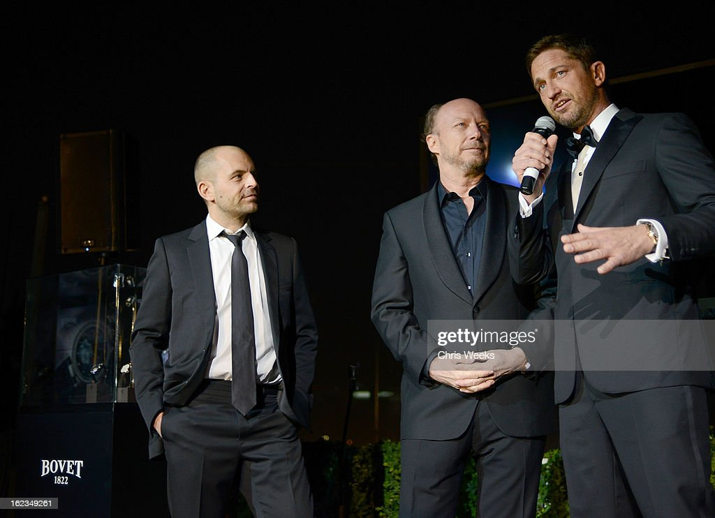 David Belle, Screenwriter Paul Haggis and actor Gerard Butler attend the Hollywood Domino and Bovet 1822 Gala benefiting Artists For Peace And Justice at Sunset Tower on February 21, 2013 in West Hollywood, California.