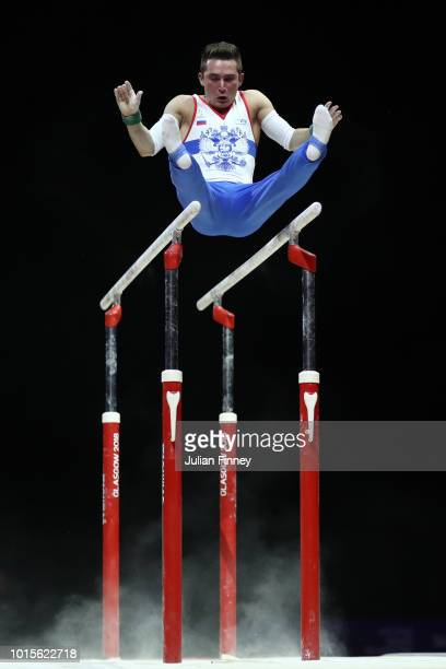 David Belyavskiy of Russia competes in Parallel Bars during the Men's Gymnastics Final on Day Eleven of the European Championships Glasgow 2018 at...