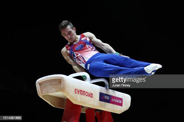 David Belyavskiy of Russia competes in Pommel Horse in subdivision 3 on Day Seven of the European Championships Glasgow 2018 at The SSE Hydro on...