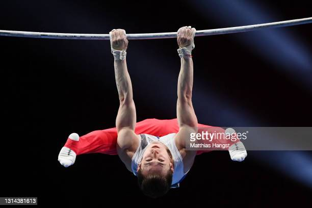 David Belyavskiy of Russia competes on Horizontal Bar during the Apparatus Finals of the European Artistic Gymnastics Championships at St....