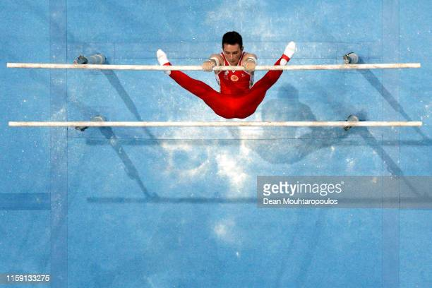 David Belyavskiy of Russia competes on the Parallel bars during the Artistic Gymnastics Men's AllAround Finals event during Day nine of the 2nd...