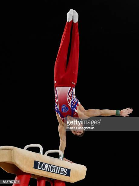 David Belyavskiy of Russia competes on the pommel horse during the individual apparatus finals of the Artistic Gymnastics World Championships on...