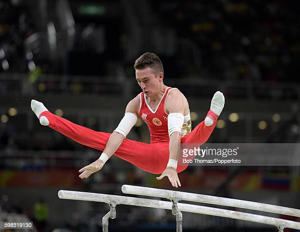 David Belyavskiy of Russia on the parallel bars during the Men's Individual AllAround on Day 5 of the Rio 2016 Olympic Games at the Rio Olympic Arena...