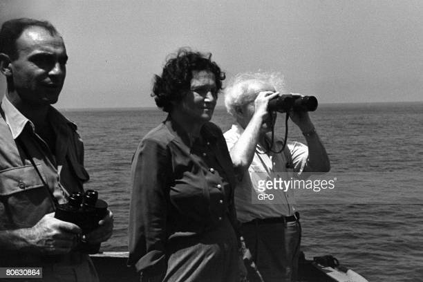 David Ben Gurion the first Prime Minister of the Jewish State and his wife Paula Ben Gurion on board an Israeli warship July 29 1949 in the...