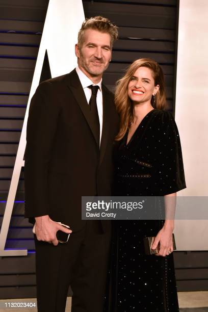 David Benioff and Amanda Peet attend the 2019 Vanity Fair Oscar Party at Wallis Annenberg Center for the Performing Arts on February 24 2019 in...
