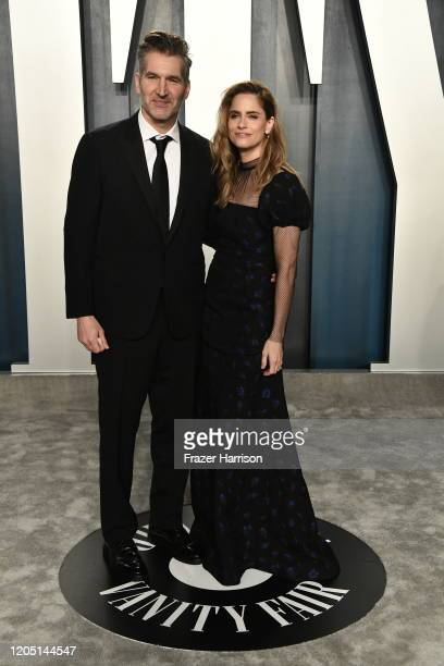 David Benioff and Amanda Peet attend the 2020 Vanity Fair Oscar Party hosted by Radhika Jones at Wallis Annenberg Center for the Performing Arts on...