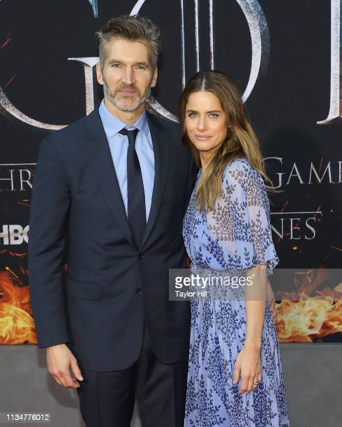 David Benioff and Amanda Peet attend the Season 8 premiere of Game of Thrones at Radio City Music Hall on April 3 2019 in New York City