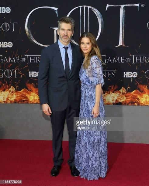 """David Benioff and Amanda Peet attend the Season 8 premiere of """"Game of Thrones"""" at Radio City Music Hall on April 3, 2019 in New York City."""
