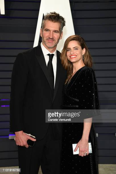 David Benioff and Amanda Peet attends 2019 Vanity Fair Oscar Party Hosted By Radhika Jones at Wallis Annenberg Center for the Performing Arts on...