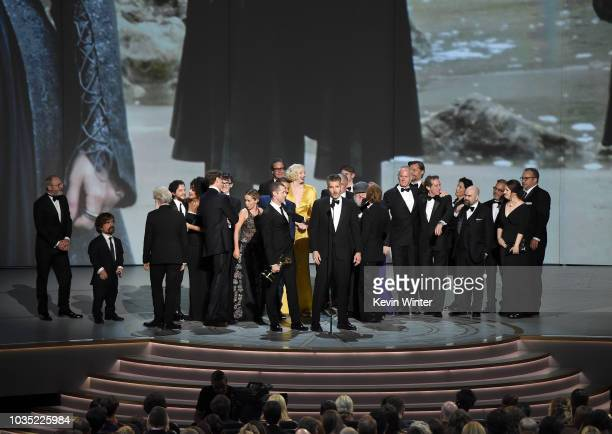 David Benioff and cast and crew accept the Outstanding Drama Series award for 'Game of Thrones ' onstage during the 70th Emmy Awards at Microsoft...