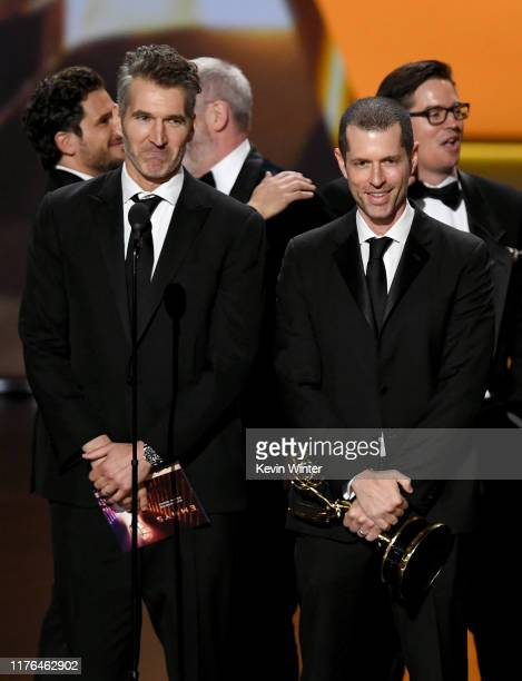 David Benioff and D B Weiss accept the Outstanding Drama Series award for 'Game of Thrones' onstage during the 71st Emmy Awards at Microsoft Theater...