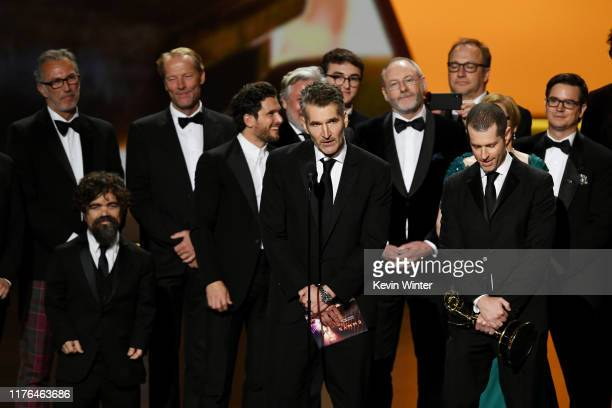 David Benioff and D. B. Weiss accept the Outstanding Drama Series award for 'Game of Thrones' onstage during the 71st Emmy Awards at Microsoft...