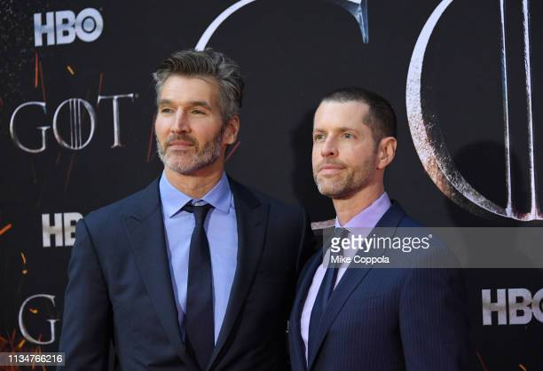 David Benioff and D B Weiss attend the Game Of Thrones season 8 premiere on April 3 2019 in New York City