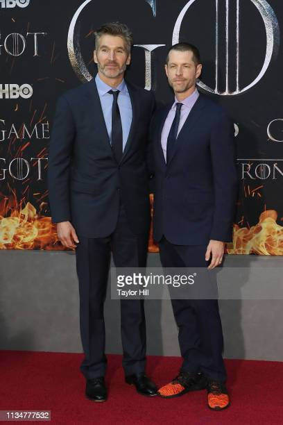 David Benioff and DB Weiss attend the Season 8 premiere of Game of Thrones at Radio City Music Hall on April 3 2019 in New York City
