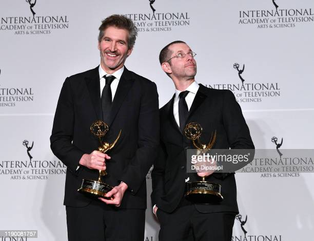 David Benioff and DB Weiss Winner of the Founder award during the 2019 International Emmy Awards Gala on November 25 2019 in New York City