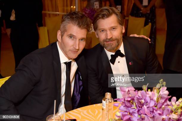 David Benioff and Nikolaj CosterWaldau attend HBO's Official 2018 Golden Globe Awards After Party on January 7 2018 in Los Angeles California