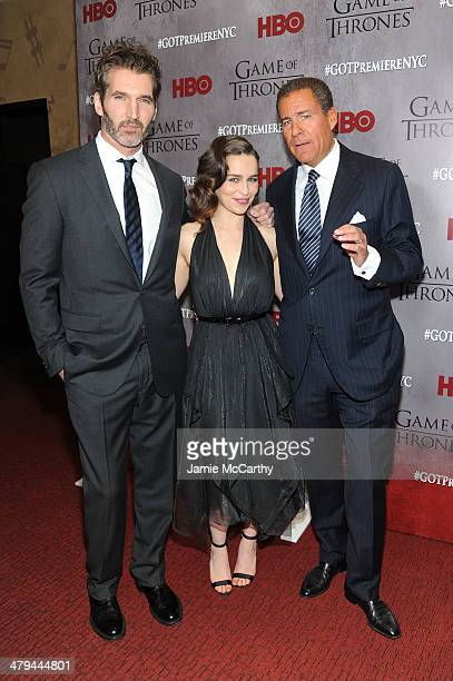 David Benioff Emilia Clarke and Richard Plepler attend the Game Of Thrones Season 4 New York premiere at Avery Fisher Hall Lincoln Center on March 18...