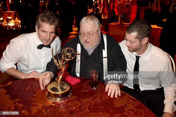 David Benioff George R R Martin and D B Weiss attend HBO's Official 2015 Emmy After Party at The Plaza at the Pacific Design Center on September 20...