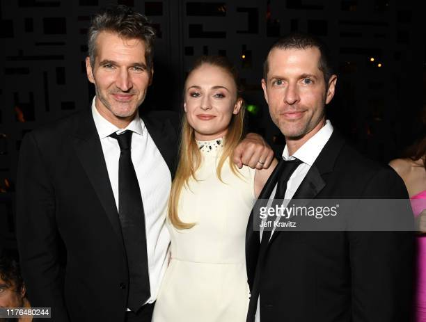 David Benioff, Sophie Turner, and D.B. Weiss HBO's Official 2019 Emmy After Party on September 22, 2019 in Los Angeles, California.