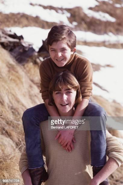David Bennent et sa soeur Anne à Gstaad en janvier 1984 Suisse
