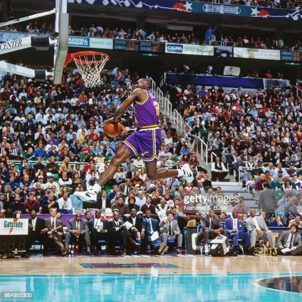 David Benoit of the Utah Jazz attempts a dunk during the 1993 NBA Slam Dunk Contest on February 20 1993 at the Delta Center in Salt Lake City Utah...