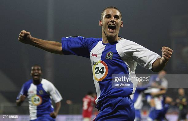 David Bentley of Blackburn Rovers celebrates after scoring a goal during the UEFA Cup match between Wisla Krakow and Blackburn Rovers at Wisly...