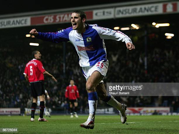 David Bentley of Blackburn Rovers celebrates after scoring during the Barclays Premiership match between Blackburn Rovers and Manchester United at...