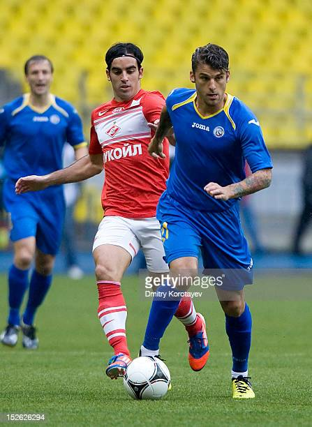 David Bentley of FC Rostov battles for the ball with Jose Manuel Jurado of FC Spartak Moscow during the Russian Premier League match between FC...