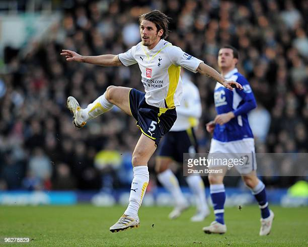 David Bentley of Tottenham Hotspur fires in a shot during the Barclays Premier League match between Birmingham City and Tottenham Hotspur at St....