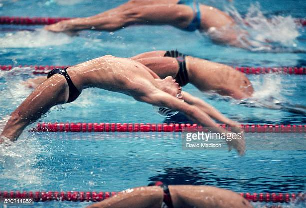 David Berkoff of the USA starts the final of the Men's 100 meter Backstroke swimming event of the 1988 Olympic Games held on September 24 1988 at the...