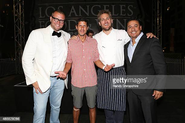 David Bernahl Mike D Curtis Stone and Councilman Jose Huizar attend the 5th Annual Los Angeles Food Wine Festival on August 27 2015 in Los Angeles...