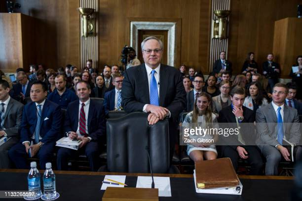 David Bernhardt President Donald Trump's nominee to be Interior Secretary arrives before testifying during a Senate Energy and Natural Resources...