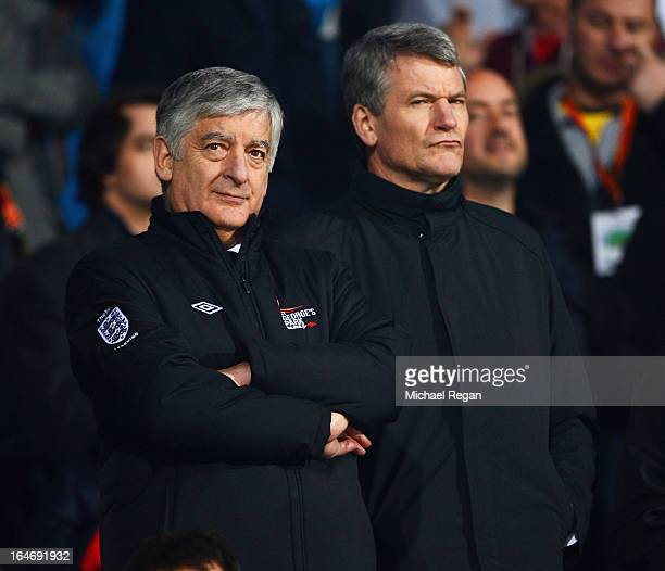 David Bernstein chairman of the FA and David Gill vicechairman of The FA look on prior to the FIFA 2014 World Cup Qualifier Group H match between...