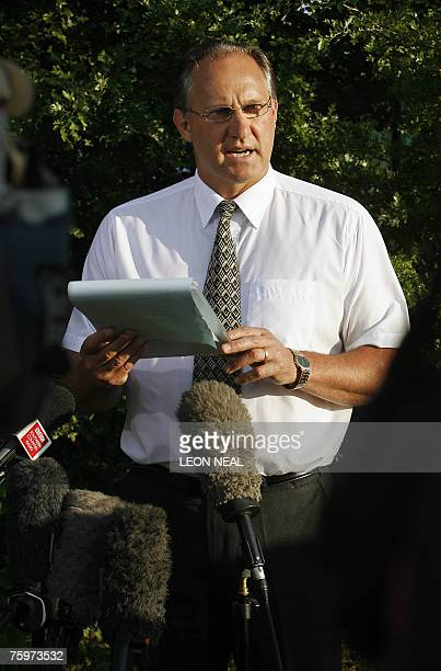 David Biland the Managing Director of animal pharmaceutical producers Merial speaks to the press as Health and Saftey investigations begin at the...