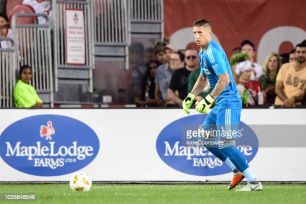 David Bingham of LA Galaxy kicks the ball during the MLS regular season match between Toronto FC and LA Galaxy on September 15 at BMO Field in...