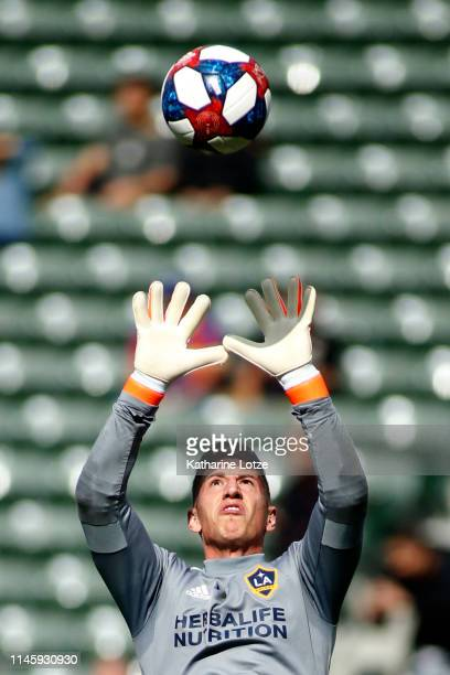 David Bingham of Los Angeles Galaxy makes a save during a warm up ahead of a game against Real Salt Lake at Dignity Health Sports Park on April 28...